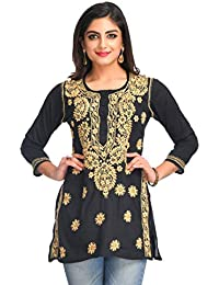 c89b752503eb12 ADA Hand Embroidered Lucknow Chikan Regular Fit Cotton Short Top  (A250295_Black)