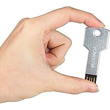 MAXINDA 8GB/16GB/32GB/64GB USB Pendrive /Memory Stick en Forma de Llave de Metal para Ordenador, Medidas: 5.7cm x 2cm x 2mm (16GB, Plata)