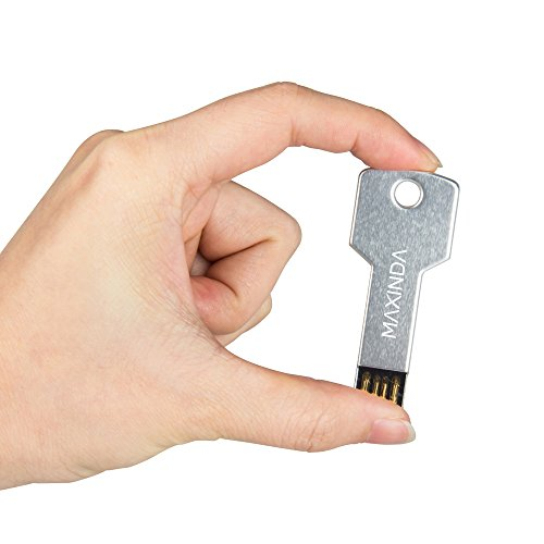 MAXINDA 8GB/16GB/32GB/64GB USB Pendrive /Memory Stick en Forma de Llave de Metal para Ordenador, Medidas: 5.7cm x 2cm x 2mm (32GB, Plata)