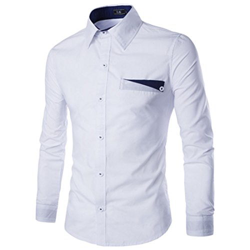 Men's Long Sleeve Turn Down Collar Solid Color Slim Fit Shirts white