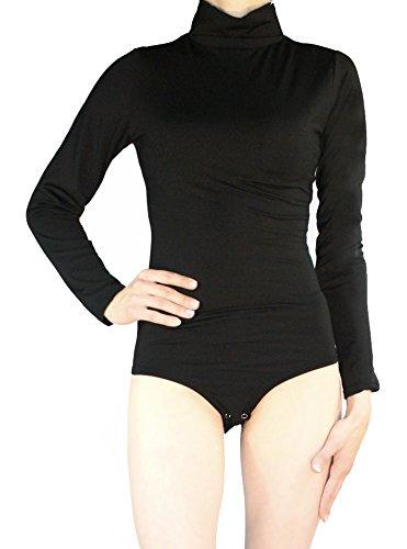 Body Damen Langarm Rollkragen Thermobody elastisch l Bodysuit Top vielen Farben Größe S M L (S/36, Schwarz) (Shirt Rollkragen Schwarzen)