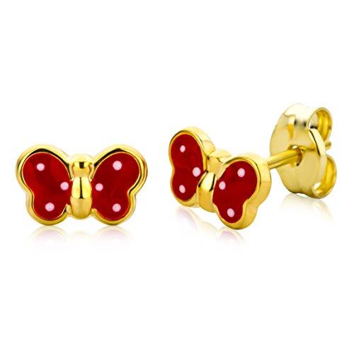 Miore Ohrringe Kinder Mädchen Gelbgold 9 Karat / 375 Gold Ohrstecker mit Schmetterling (Gold Schmetterling Armband)