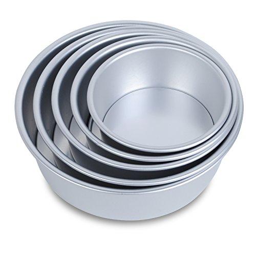 6-10 Base Desmontable, Juego Moldes Horno Antiadherentes Redondos para Pastelería, Aluminio Anodizado, 5 Medidas