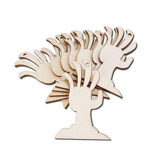 WINOMO 10pcs Holz Halloween dekoration abgehackten Palm Muster Anhänger