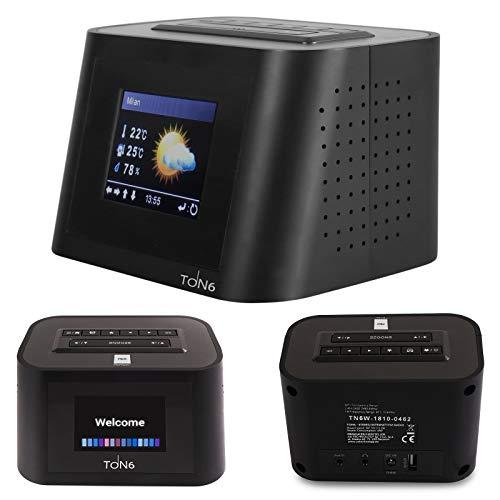 netshop 25 Opticum Ton6 W-LAN Internetradio mit UKW - Wecker Sleeptimer Wetterstation Relax- Taste und USB Ladebuchse für Handys