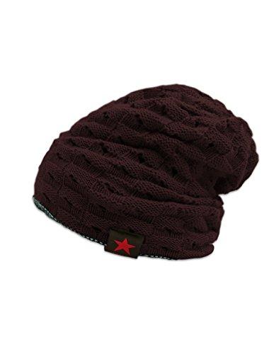 One Size , Red : SourcingMap Men Textured Design Winter Wearing Knit Cap Beanie Hat