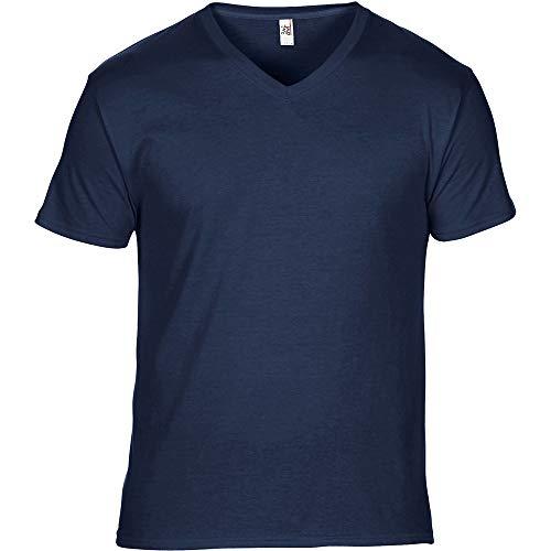 Anvil Mens Featherweight V Neck T Shirt Navy -