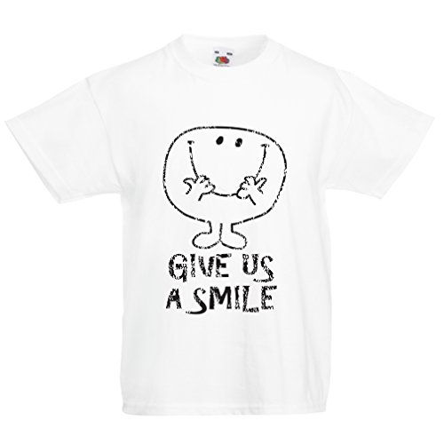en/Mädchen T-Shirt Gib Uns EIN Lächeln! Glückliches Gesicht Emoji, Glückszitat (7-8 Years Weiß Mehrfarben) ()