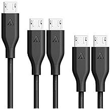 Anker [5-Pack] PowerLine Micro USB Kabel, 2x0.3m + 2x0.9m + 1x1.8m Ladekabel, einer Lebensdauer von 10,000+ Biegungen f¨¹r Samsung, Nexus, LG, Motorola, Android Smartphones und weitere (Schwarz)