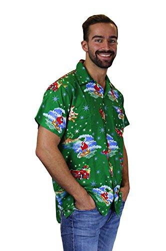 King Kameha   Funky Camicia Hawaiana Natale Da Uomo   XS - 6XL   Maniche Corte   Tasca Frontale   Stampa Hawaiana   Natale Babbo Xmas Christmas SurfSantaGreen