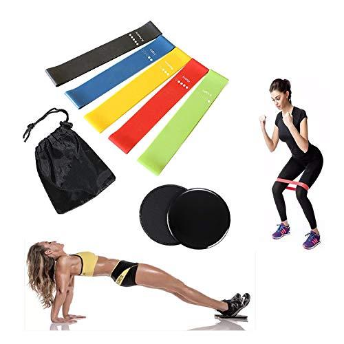 ifunlong - set di fasce elastiche per esercizi di resistenza, per gambe, glutei e spalle, senza lattice, durevoli, elastiche per allenamento, mobilità e powerlifting, mix