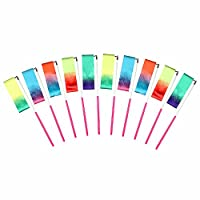 MULOVE® 10 Pieces 2 Meter Rainbow Ribbons Dance Gymnastics Rhythmic Ribbons,Gym Dance Ribbon Streamer with Twirling Baton Stick for Kids Dancing,Ribbon Toys (Starry Sky Colors)