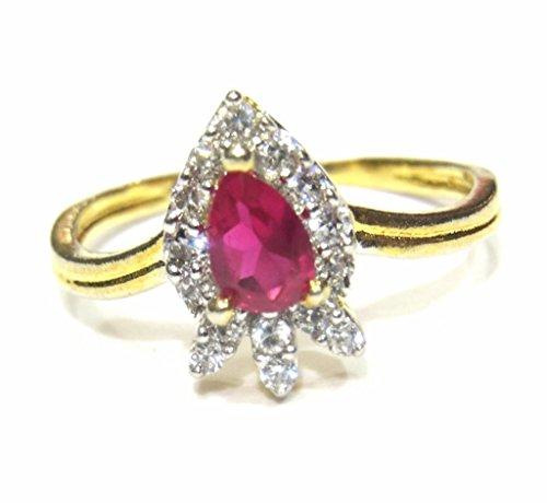 Big Jewel Red (jewelshingar Jewellery Vergoldet Weiß American Diamant Ring für Frauen (23408-ring-ruby))