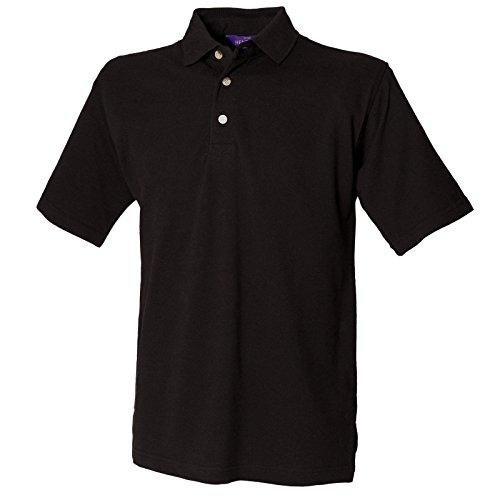 New Henbury Drei Knopfleiste Classic Herren Polo Shirts mit Stehkragen Schwarz - Schwarz