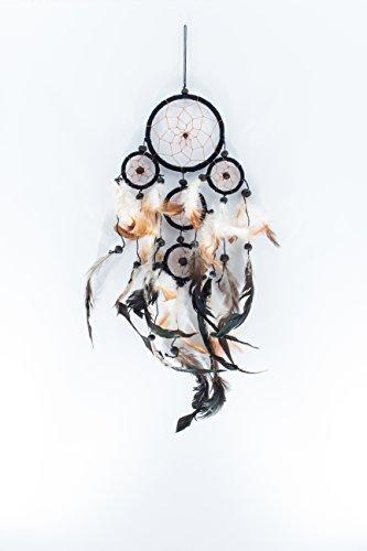 9 Schwarz Leder (Kascha Traumfänger / Dreamcatcher - 45cm x 9cm - Schwarz - Echt Leder / 5 Ringe)