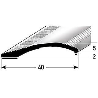Höhen-Ausgleichsprofil 40mm x 100cm - silber ★ 2mm - 16mm ★ Selbstklebend ★ Stufenloser Höhenausgleich   Aluminium Anpassungsprofil für Laminat, Teppich, Parkett & Fliesen