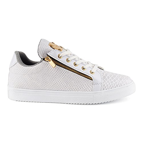 FiveSix Herren Sneaker Sportschuhe Schnürschuhe Schlangenoptik Freizeitschuhe Reißverschluss Lack Low Top Schuhe Weiss-2