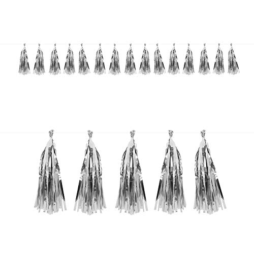 Oblique Unique® Tassel Girlande Quasten Quoddel Quaddel Troddel Papier Streifen Deckenhänger Banner Deko für Geburtstag Hochzeit Jubiläum Party Feier Kindergeburtstag Dekoration - wählbar (Silber)