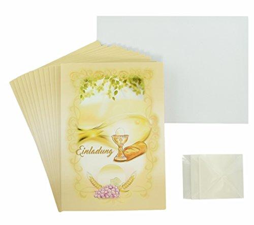 Einladungskarten Kommunion / Konfirmation beige - gelb - grün mit Motiv Fisch im Set: 12x Einladungen, 12x Briefumschläge weiß, 12x selbstklebende Dreieckstasche zum Foto befestigen4260399371259