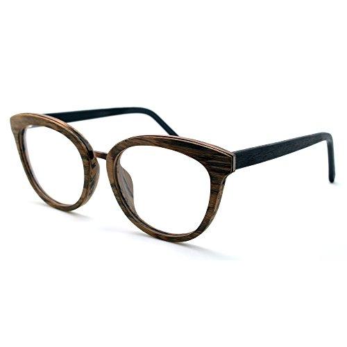 TIJN Damen Holzmaserung Cateye Brille Rahmen aus Holz, Schwarz, 00014003