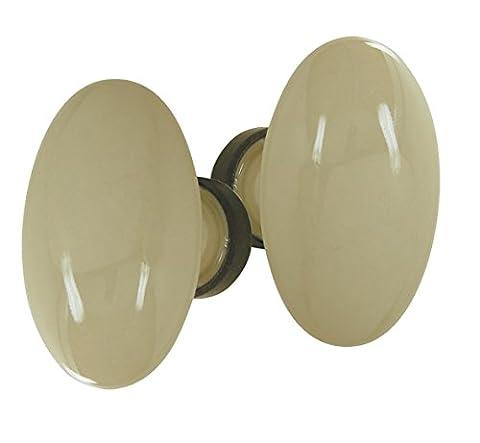Bouton double OVALE porcelaine de LIMOGES beige/rouillé