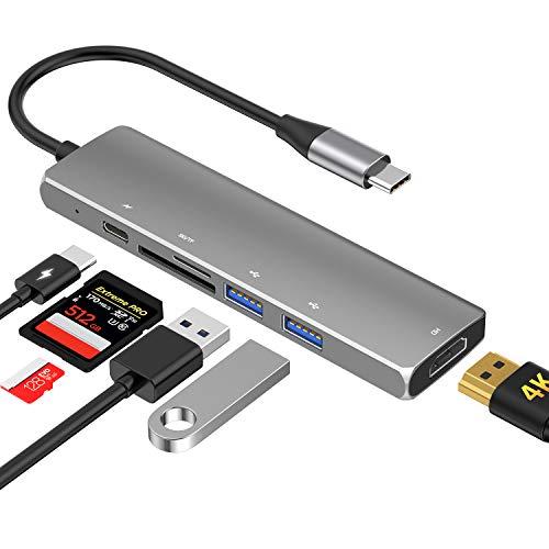 SenPuSi HUB USB C, 6-EN-1 Concentrador HDMI 4K, 2