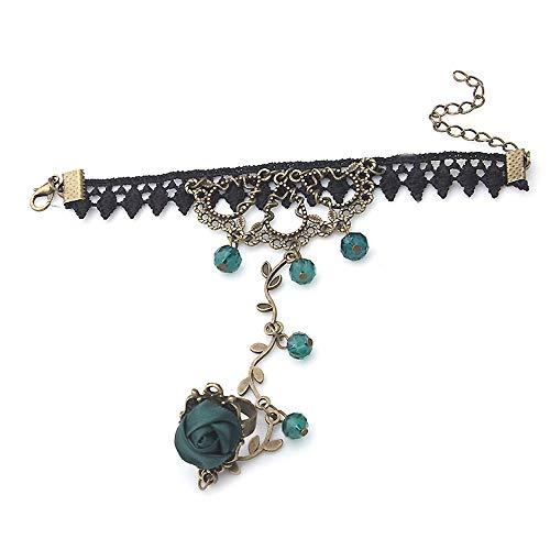 GJF 1 Stück Handgefertigte Vintage Black Lace Vampir Slave Armband mit Stoff Blumen und grünen Harz ()