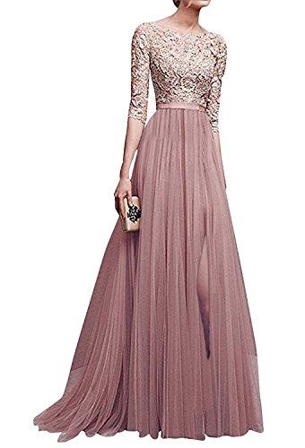 Minetom Robe De Soiree Femmes Robe De Ceremonie Maxi Elegante Longue Robe De Mariage De Cocktail Rose FR 42