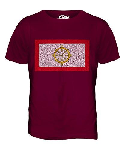 CandyMix Sikkim Kritzelte Flagge Herren T Shirt Burgunderrot