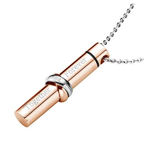 Zysta - collana con ciondolo a forma di simbolo dell'infinito, in acciaio inox, con incisione e acciaio inossidabile, colore: oro rosa, cod. bwde20180925d