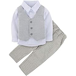 A&J Design 3 Piezas bebé Niño Formal Ropa Conjunto Boda Outfit (Gris, 18-24 Meses)