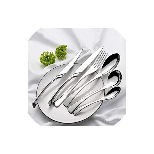 Besteckset Edelstahl Abendessen Messer-Gabel-Eßlöffel Geschirr Set Service westlichen Geschirr Werkzeuge, 2pc Suppenlöffel -