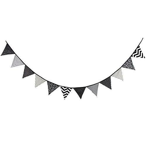 e Wimpelkette Girlande für Dekoration 3.2 M Länge (Schwarz-Weiß-Stil) ()