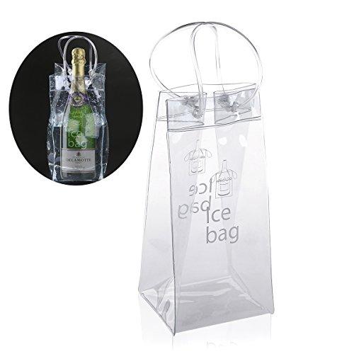 Foxnovo Dauerhaft klare, transparente PVC-Champagner Wein Ice Bag Tasche Kühltasche mit Griff (Kleine Klare Kunststoff-flaschen)