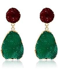 bce67f4f1567 JAGETRADE Colorido Druzy Piedra Pendientes de Gota de Cuarzo Natural Geoda  Cristal Joyería de Moda