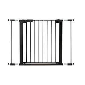 BabyDan Wide Pressure Gate (86-93.3 cm)  World innovation retractable safety gate in white PVC free plastic to fit openings from 55 - 89cm Auto Foldable - Automatically folds back when opened and fitted inside a door frame: 64.5 - 89 cm and fitted outside a door frame of  55 - 79.5 cm Safety gate for narrow to wide openings or where a conventional gate will not fit 11