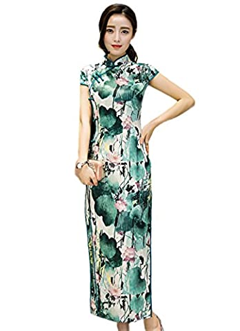 Fasbys Chinese Traditional Short Sleeve Wedding Evening Dress High-Slit Full-Length Qipao (L)
