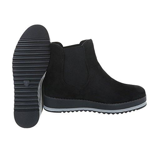 Ital-Design Scarpe da Donna Stivali Piatto Chelsea Boots Nero