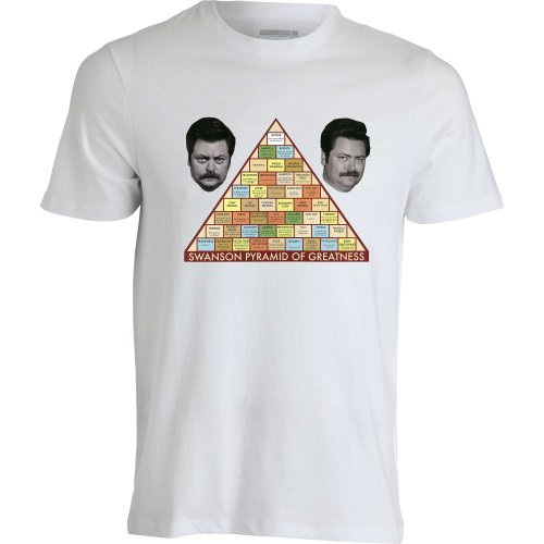 ron-swanson-parks-and-recreation-pyramid-of-greatness-dope-white-men-t-shirt-homme-blanc-m