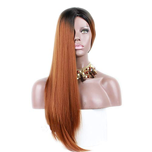Bobopai Synthetic Long Straight Ombre Wig Two Tones #1B Rooted #30 Ombre Heat Resistant Cheap Middle Part Wig 130% High Density for Women (#30 Sraight) Blue Lace-service Plate