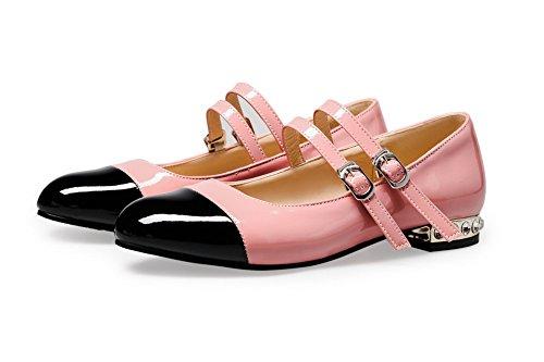 VogueZone009 Femme Matière Mélangee Rond à Talon Bas Boucle Couleurs Mélangées Chaussures Légeres Rose