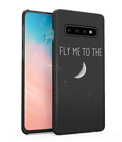 Hülle Hardcase Kompatibel mit Samsung Galaxy S10 Plus Fly Me To The Moon Galaxis Kosmos Mond Universum Sterne Space Star Galaxy Planet Solar System Quote Zitat Travel eng Anliegendes Dünnes Handyhülle (Ausschnitte System Solar Planet)