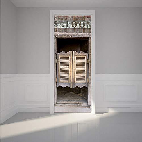 zpbzambm Western Bar Tür Aufkleber Selbstklebende PVC wasserdichte Tapete DIY Dekoration Wandtattoo Für Schlafzimmer 77X200 cm