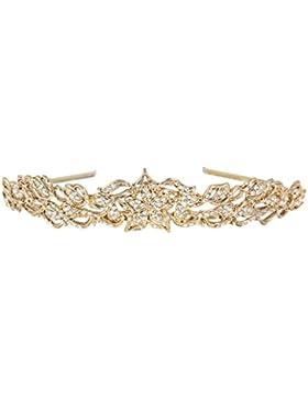 EVER FAITH® österreichischen Kristall elegant Blätter Diadem Antik-Gold-Ton N04775-2