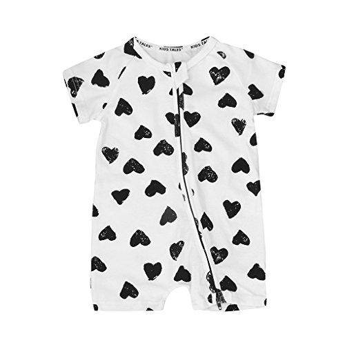 Jungen Kleidung JYJM Neugeborenen Baby Mädchen Jungen Kurzarm Herz Jumpsuit Outfits Kleidung Krabbeln Kurzärmelige Harem Sommer Kurzarm Jacke für 0-3 Jahre (80, WeißA) (Herren Kleid Blend Hose)