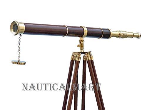 Náutica Telescopio de latón de tamaño completo en un soporte trípode de madera acabado níquel 39 longitud del tubo Objetos antiguos