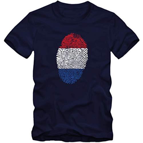 Herren T-Shirt Nederland Niederlande Netherlands Holland Fußball Trikot Fingerabdruck WM EM, Größe:XL, Farbe:dunkelblau