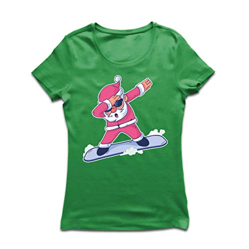 lepni.me Frauen T-Shirt Weihnachten Dab, Dabbing Weihnachtsmann, Weihnachtsfeiertags-Shirt (Medium Grün Mehrfarben)