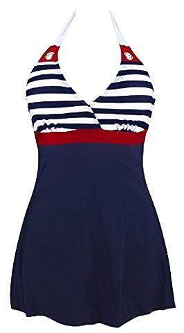 Gigileer Damen Frauen Badeanzug Bademode one Piece Marine Streifen Rock Shorts Rot XXL EU 40-42 (Retro Frauen-badeanzug)