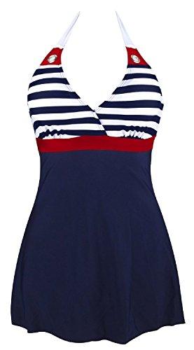 Gigileer Damen Frauen Badeanzug Bademode one Piece Marine Streifen Rock Shorts Rot XXL